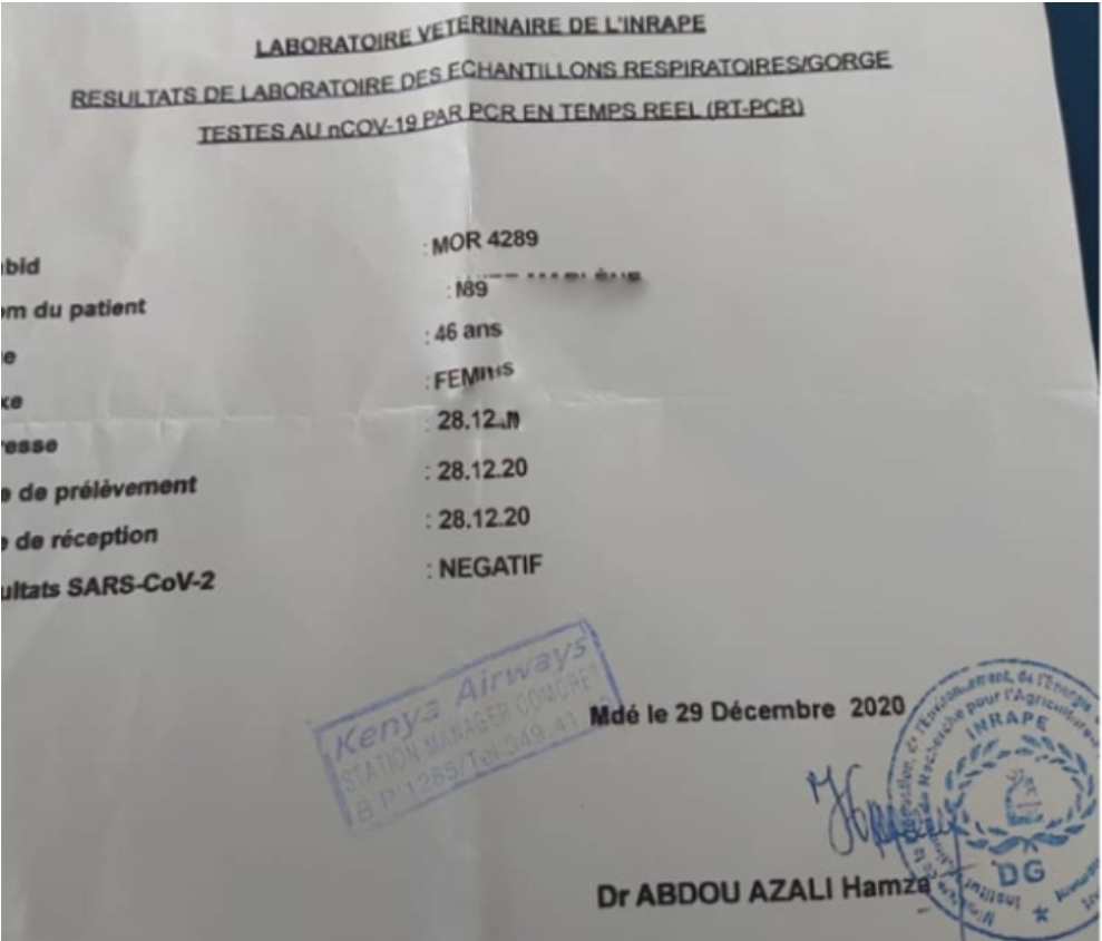 Un couple franco-comorien bloqué à Moroni pour «falsification de tests Pcr»